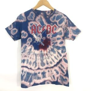 Other - AC/DC Blue Graphic Band Short Sleeve Tee Rock Pink
